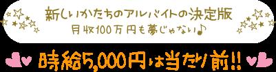 新しいかたちのアルバイトの決定版 月収100万円も夢じゃない♪時給5,000円は当たり前!!